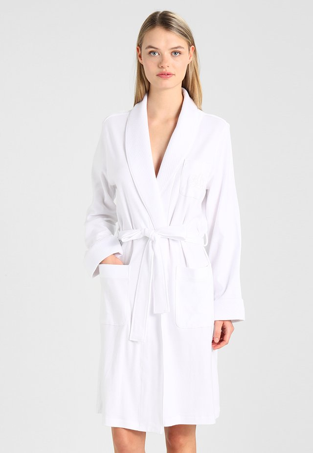 ESSENTIALS COLLAR ROBE - Dressing gown - white