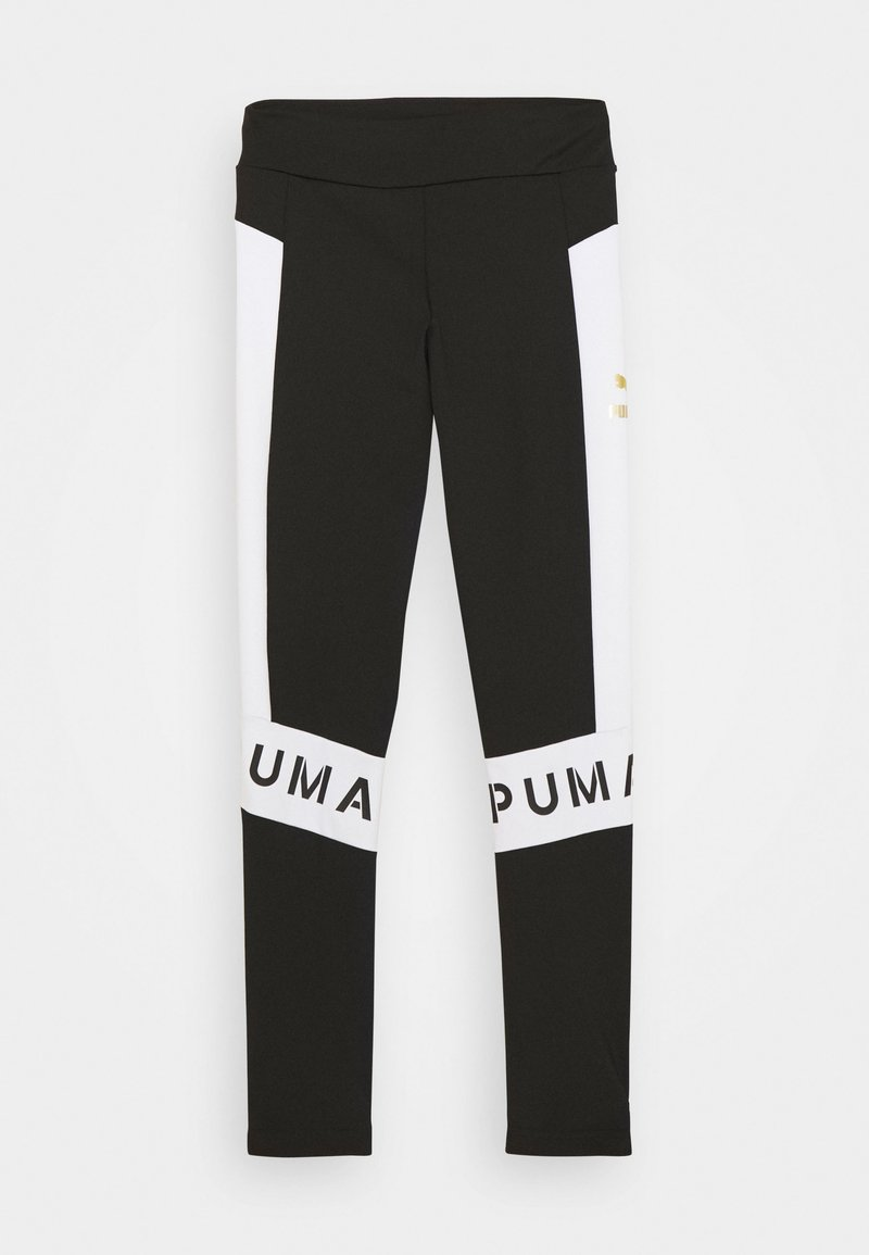 Puma - COLOR BLOCK LEGGINGS - Leggings - black/white