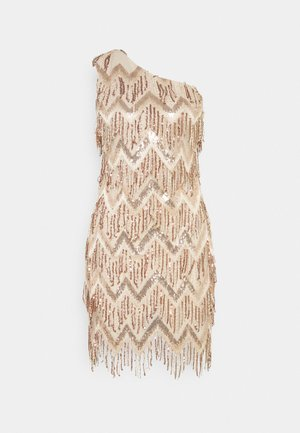 PREMIUM PARTY ONE SHOULDER ZIG ZAG GOLD SEQUIN MINI DRESS - Juhlamekko - champagne