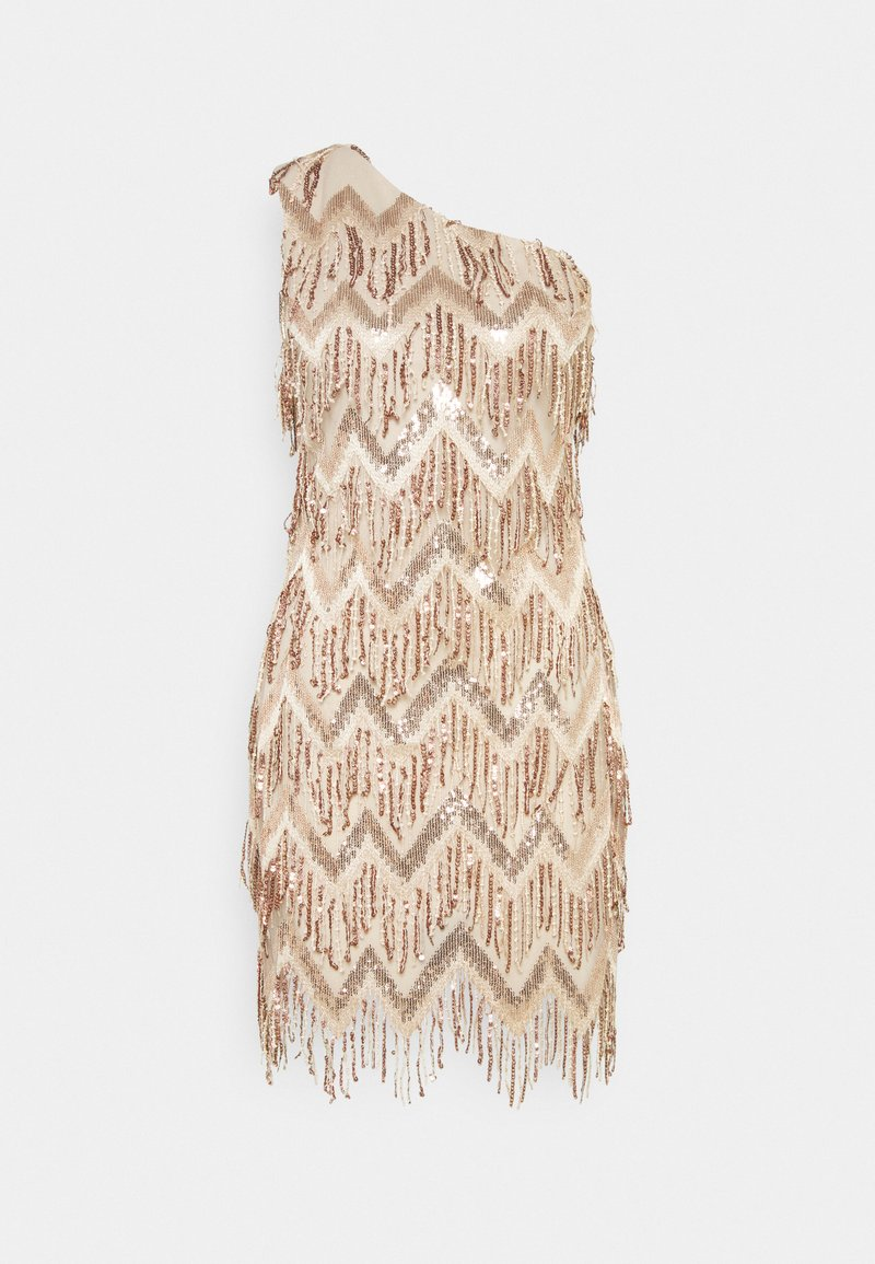 Missguided - PREMIUM PARTY ONE SHOULDER ZIG ZAG GOLD SEQUIN MINI DRESS - Cocktailkjole - champagne