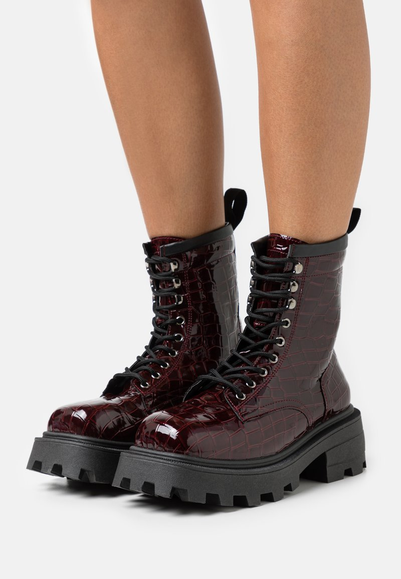 Topshop - BAE SQUARE TOE LACE UP - Lace-up ankle boots - burgundy