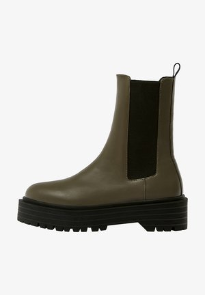 Kotníkové boty na platformě - khaki