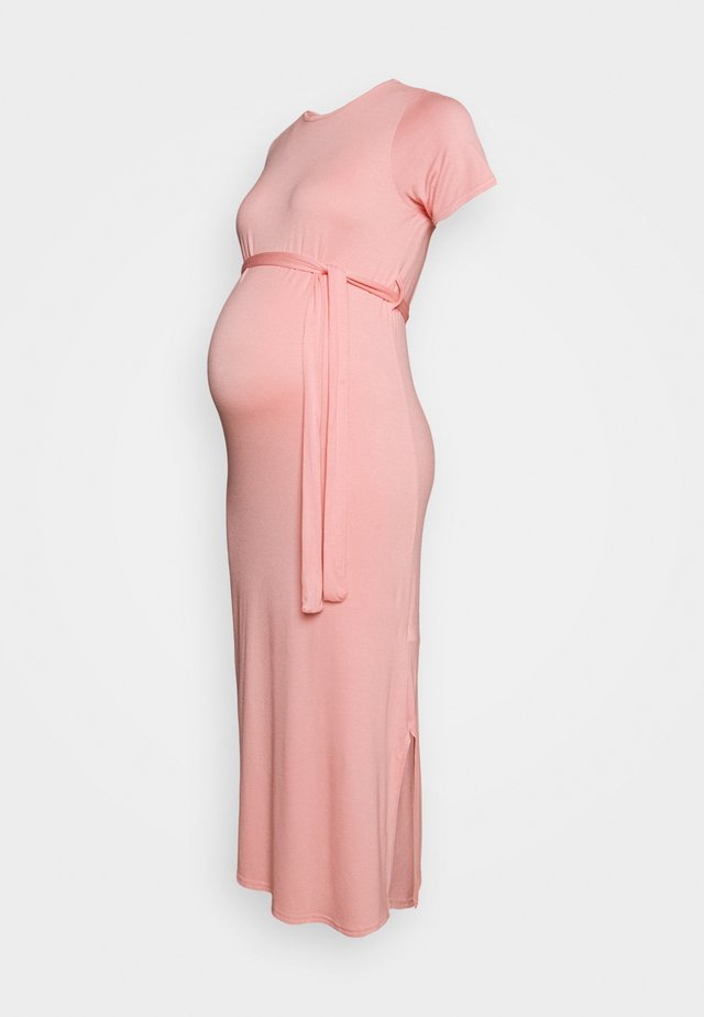BELTED SIDE SPLIT MIDI - Vestido ligero - pale pink