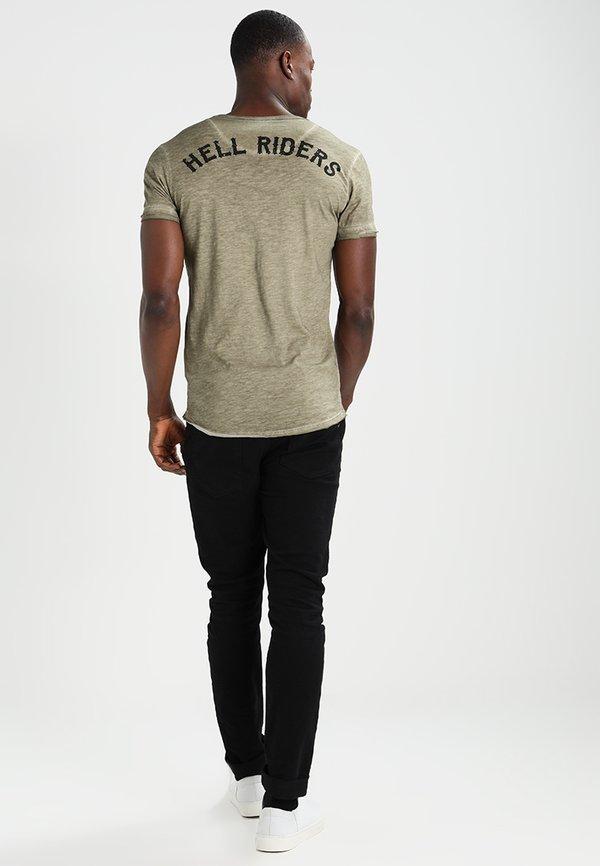 Key Largo HELL RIDERS - T-shirt z nadrukiem - khaki Odzież Męska BKTR