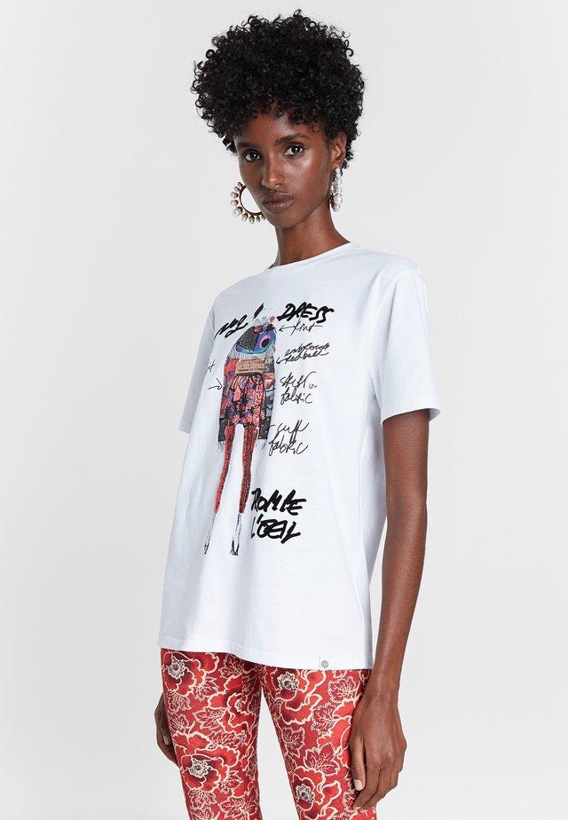 VIENA - T-shirt z nadrukiem - white