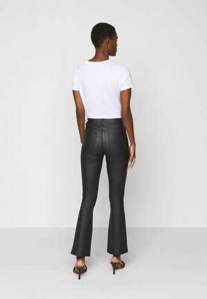 OBJBELLE COATED - Bootcut jeans - black