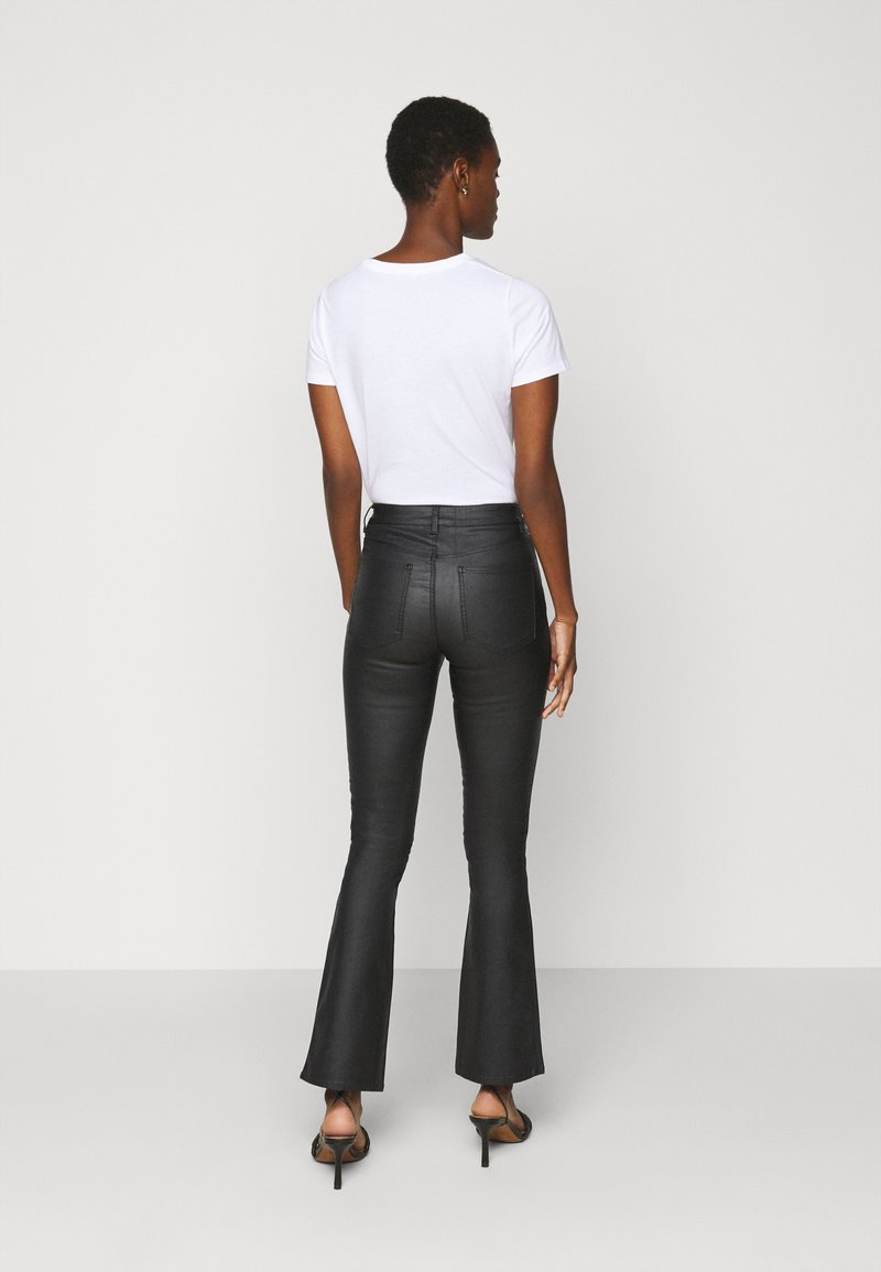 Object Tall - OBJBELLE COATED - Bootcut jeans - black