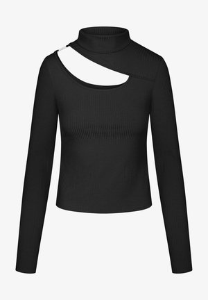 MIT CUT-OUT - Long sleeved top - schwarz