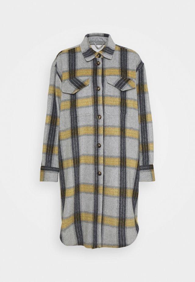 AMARA SHIRT COAT - Shirt dress - yellow/grey check