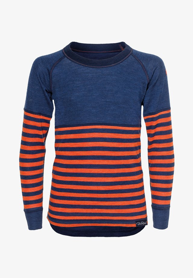 Long sleeved top - navy orange