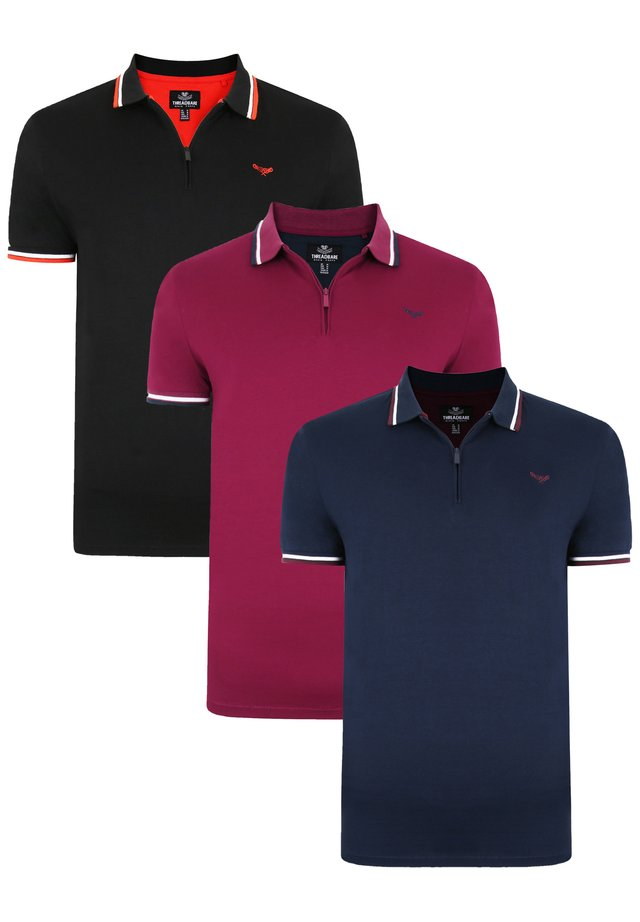 3PACK - Polo - black navy rhododendron