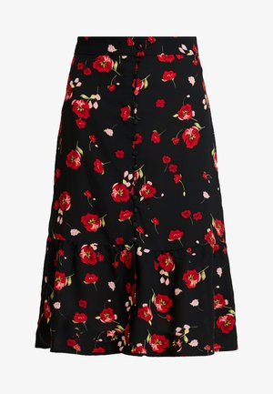 FLORAL BUTTON FRONT MIDI SKIRT - A-line skjørt - black
