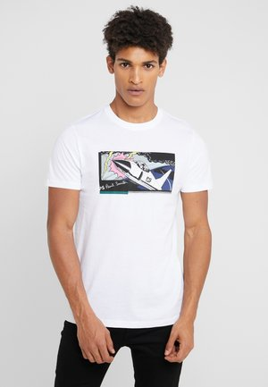 SLIM FIT JET - Print T-shirt - white