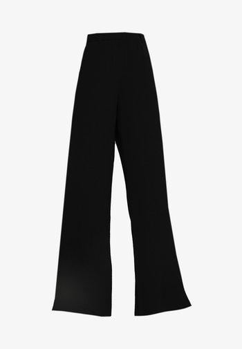 SLFMAYA FLARED SLIT PANT - Kalhoty - black