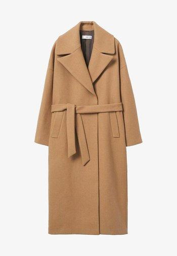 MANTEAU LAINE MAXI REVERS - Classic coat - marron moyen