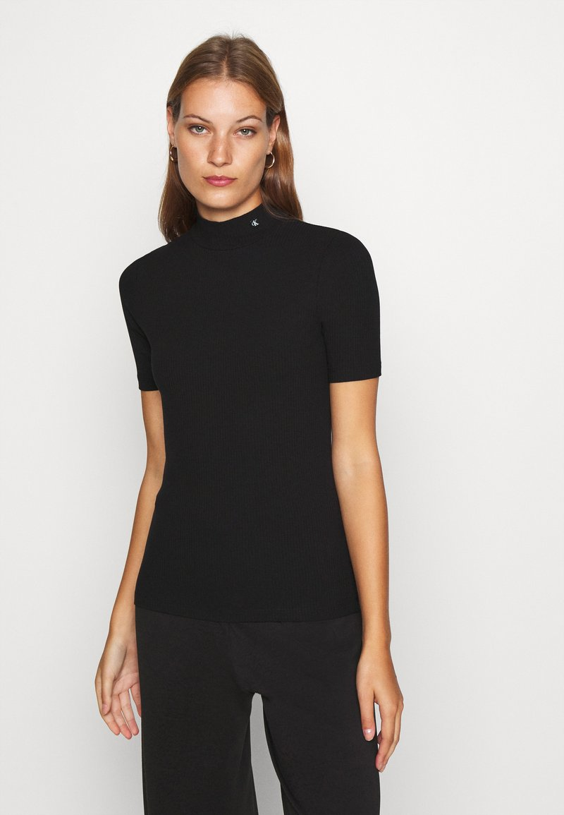 Calvin Klein Jeans - MOCK NECK - T-shirt z nadrukiem - black