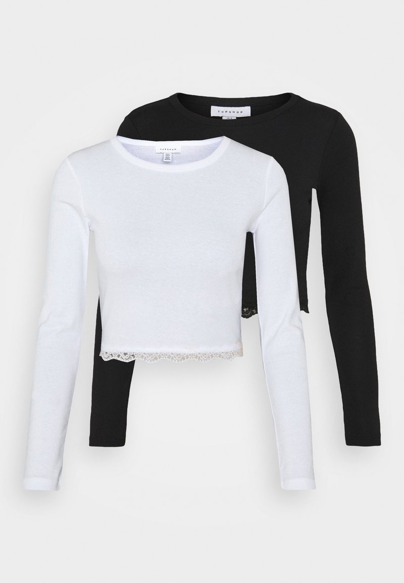 Topshop - 2 PACK - Camiseta de manga larga - black/white