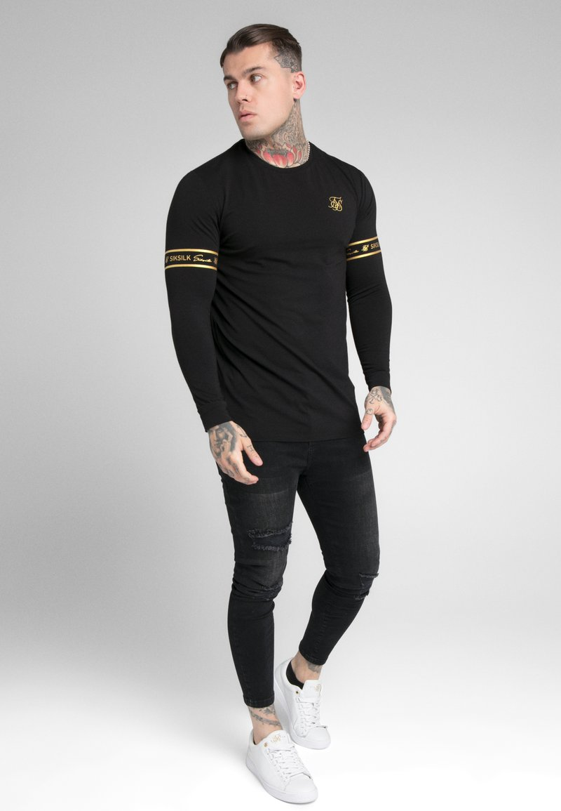 SIKSILK - TECH SCRIPT TEE - Long sleeved top - black/gold