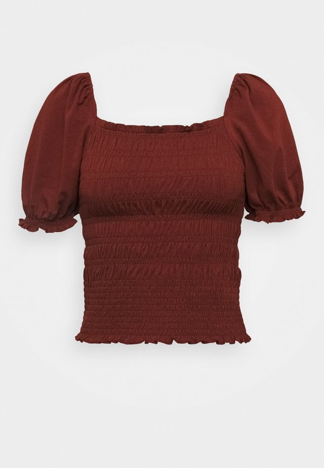 RUCHED BODY PUFF SLEEVE - Print T-shirt - rich rust