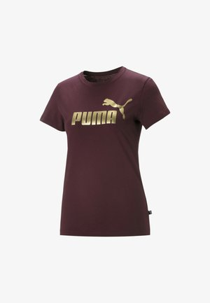 ESSENTIALS+ METALLIC  - T-shirt con stampa - burgundy-gold