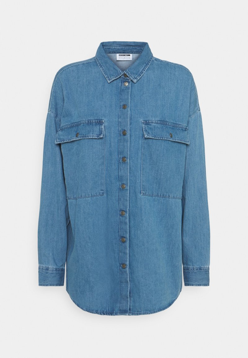 Noisy May - NMFLANNY LONG SHACKET - Skjorte - medium blue denim