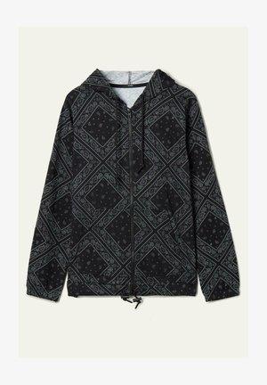 MIT REISSVERSCHLUSS UND TUNNELZUG - Zip-up hoodie - nero/grigio st.bandana