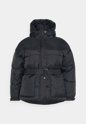 HOODED SELF BELTED PUFFER JACKET - Winter jacket - black