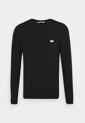 ROUND NECK COLLAR WITH PLAQUETTE - Sweater - black