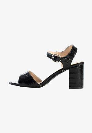 Sandały na obcasie - black melange