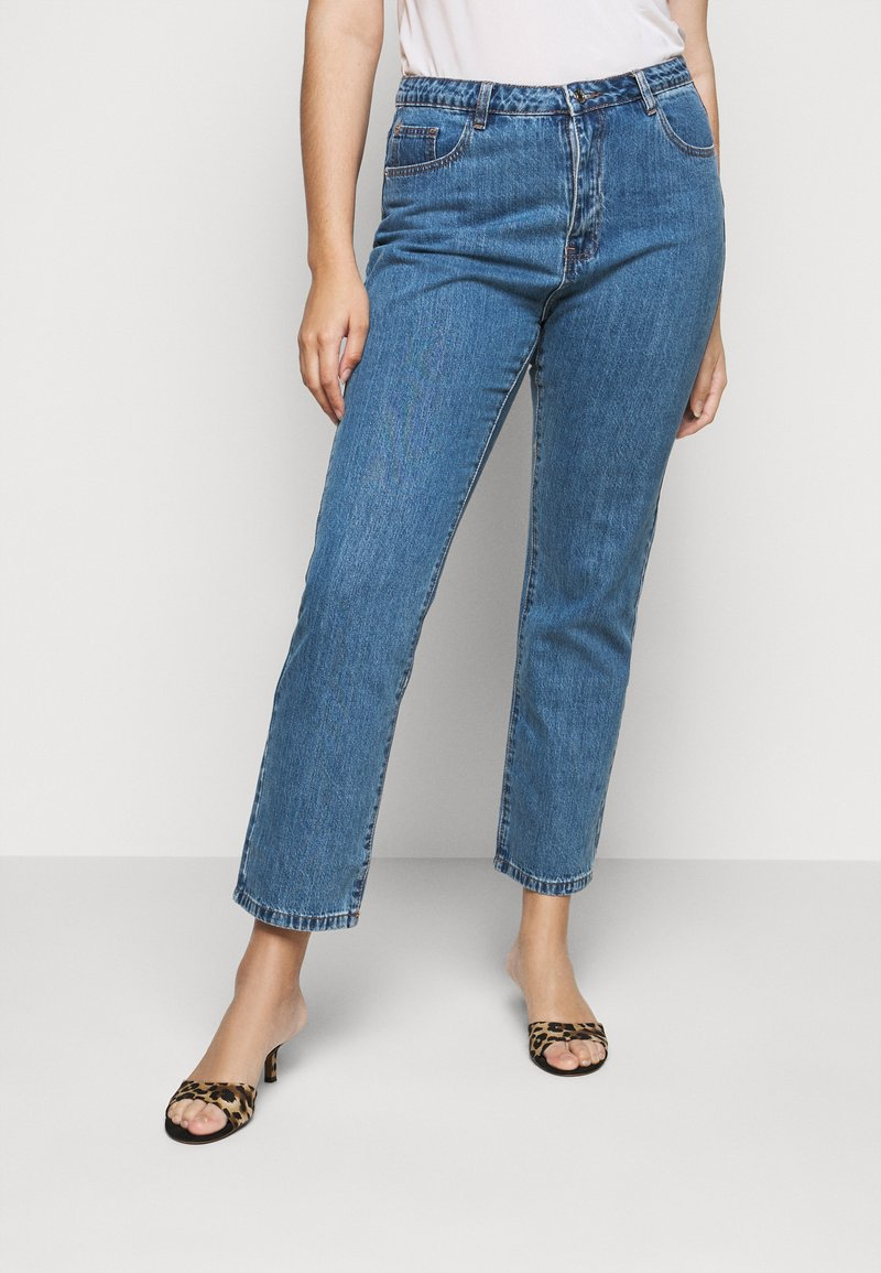 Missguided Plus - WRATH HIGH WAISTED - Straight leg jeans - mid auth blue