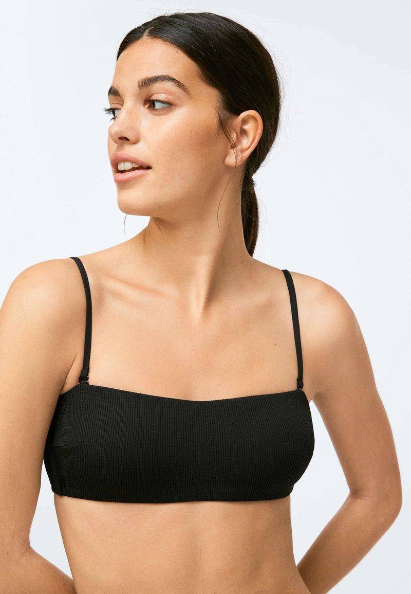 OYSHO - RIBBED - Bikini top - black
