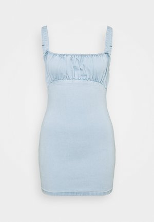 RUCHED BUST MINI DRESS - Day dress - light wash blue