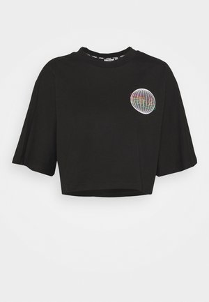 ANEMORE CROPPED WIDE TEE - T-shirts med print - black