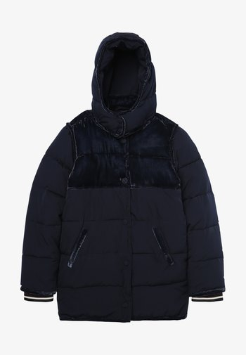 LONGER LENGTH PADDED JACKET WITH CONTRAST