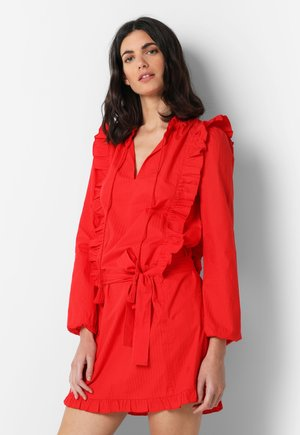 WITH RUFFLES - Day dress - red