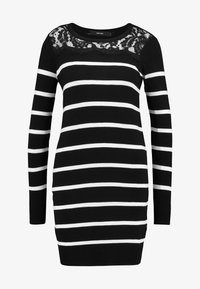 Vero Moda Petite - VMLACOLE LACE DRESS - Vestido de punto - black/snow white/black lace - 4