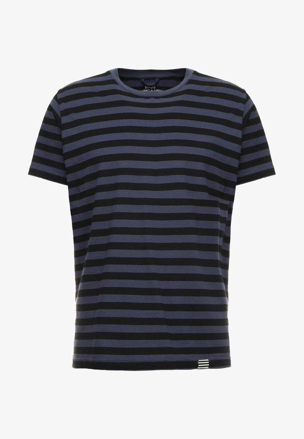 Mads Nørgaard MIDI THOR - T-shirt z nadrukiem - navy/black/granatowy Odzież Męska TSDN