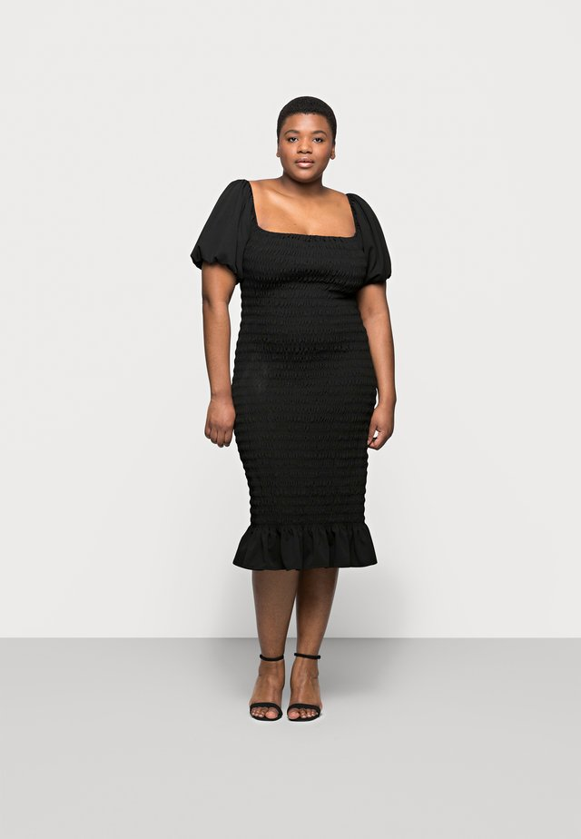 SHIRRED PLAIN BARDOT MIDI - Day dress - black