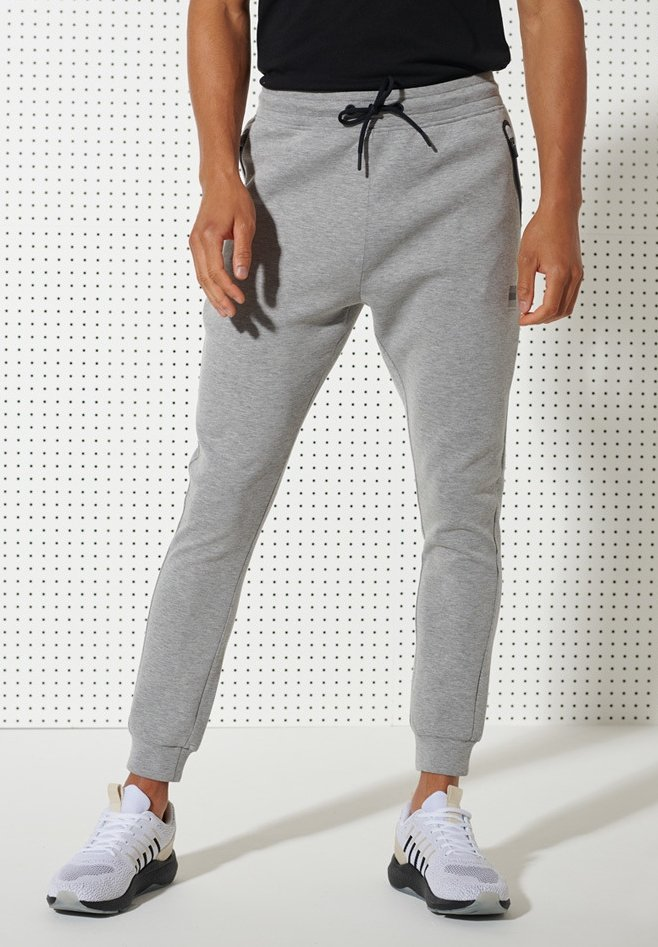 Superdry - TRAINING GYMTECH - Tracksuit bottoms - grey marl