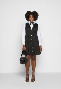 Simply Be - WRAP PINAFORE DRESS - Žerzejové šaty - black - 1