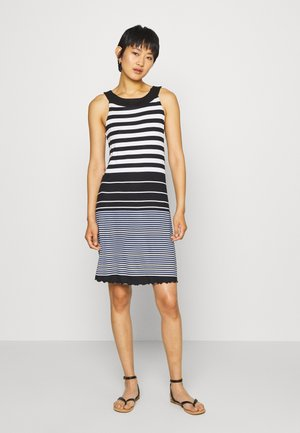 DRESS AMERICAN NECK - Jersey dress - black/white