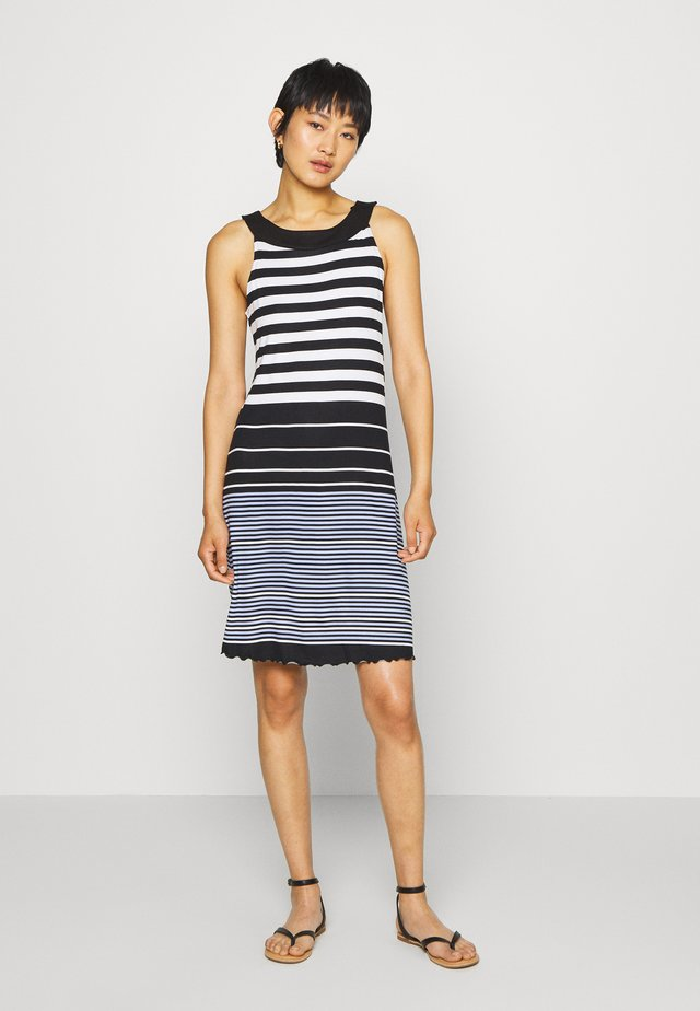 DRESS AMERICAN NECK - Žerzejové šaty - black/white