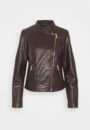 Leather jacket - bordeaux red