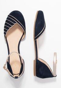 Anna Field - LEATHER - Ankle strap ballet pumps - dark blue - 3