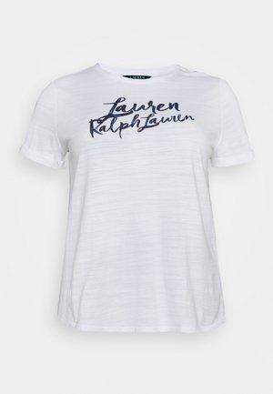 HAILLY SLEEVE - Print T-shirt - white