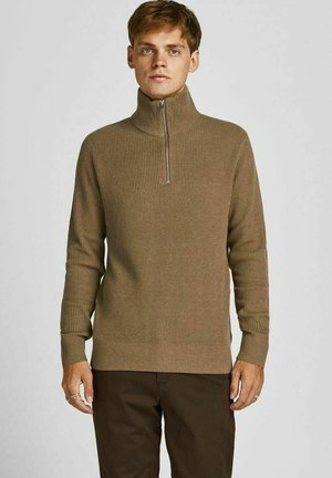 JPRBLAPERFECT HIGH NECK ZIP - Stickad tröja - dark coat khaki