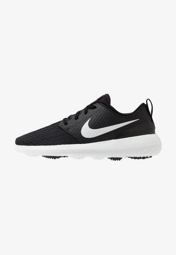 ROSHE - Golf shoes - black/metallic white-white