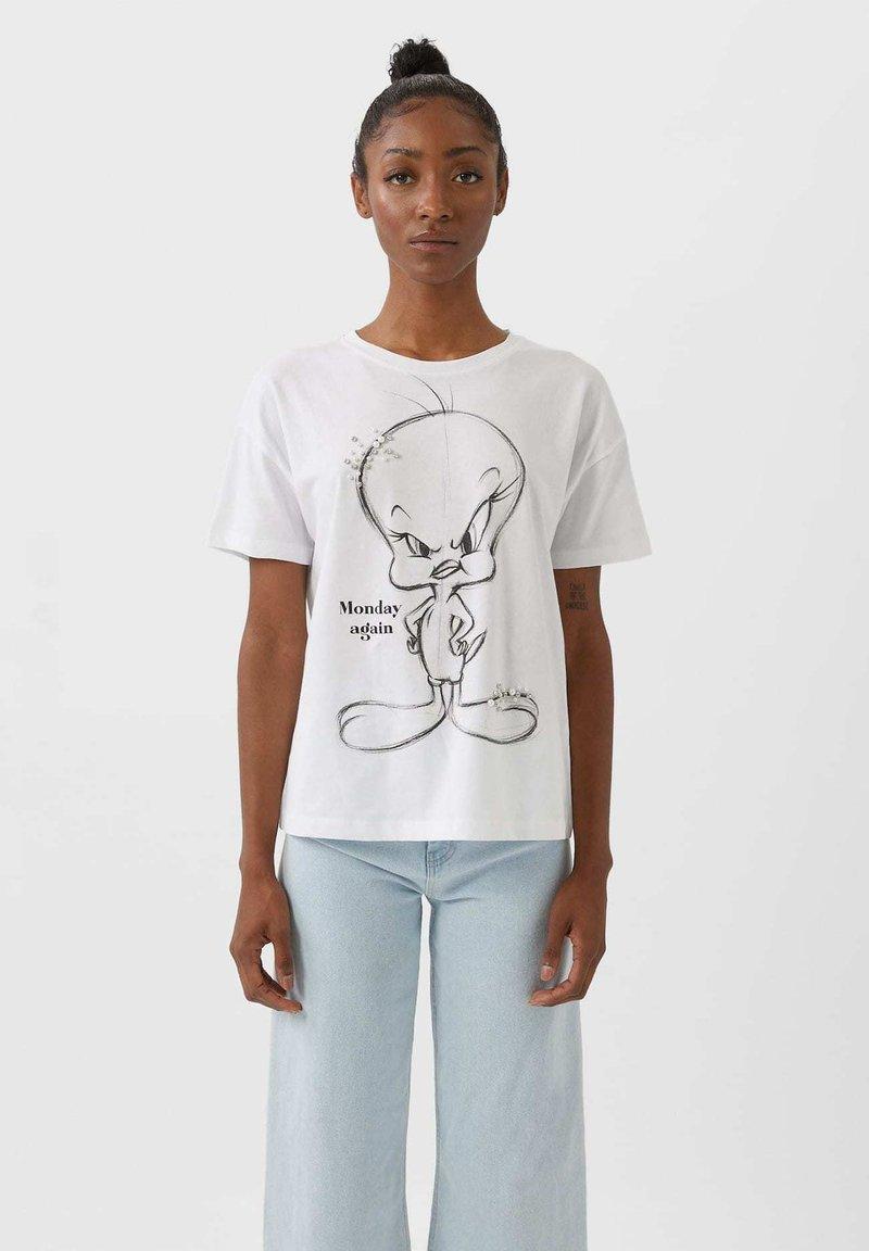 Stradivarius - TWEETY - Basic T-shirt - white