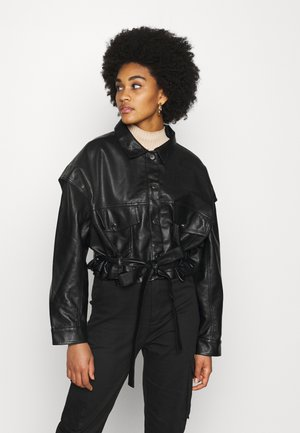 DROP SHOULDER BELTED BIKER - Imitert skinnjakke - black