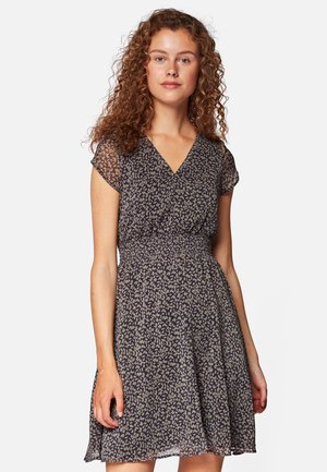 V NECK DRESS - Day dress - black base green leave print